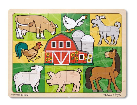 Melissa & Doug Patchwork Farm Wooden Jigsaw Puzzle (24 pcs) Storage Tray Ages 3+ Animals