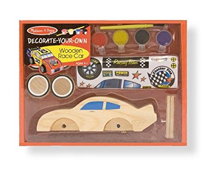 Melissa & Doug Decorate-Your-Own Wooden Race Car Craft Kit [Home Decor]- Olde Church Emporium