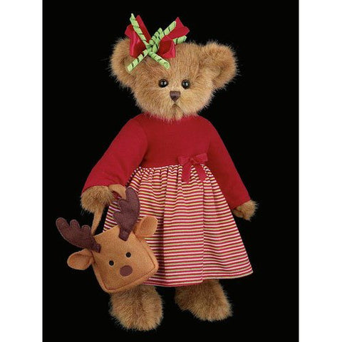 "Bearington - Christmas Holiday Bear ""Reagan Reindeer"" - 14 Inches and Retired"