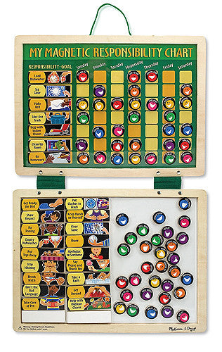 Melissa & Doug - Deluxe Wooden Magnetic Responsibility Chart With 90 Magnets - Olde Church Emporium