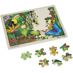 Melissa & Doug Rainforest Wooden Jigsaw Puzzle With Storage Tray (48 pcs) Ages 4+