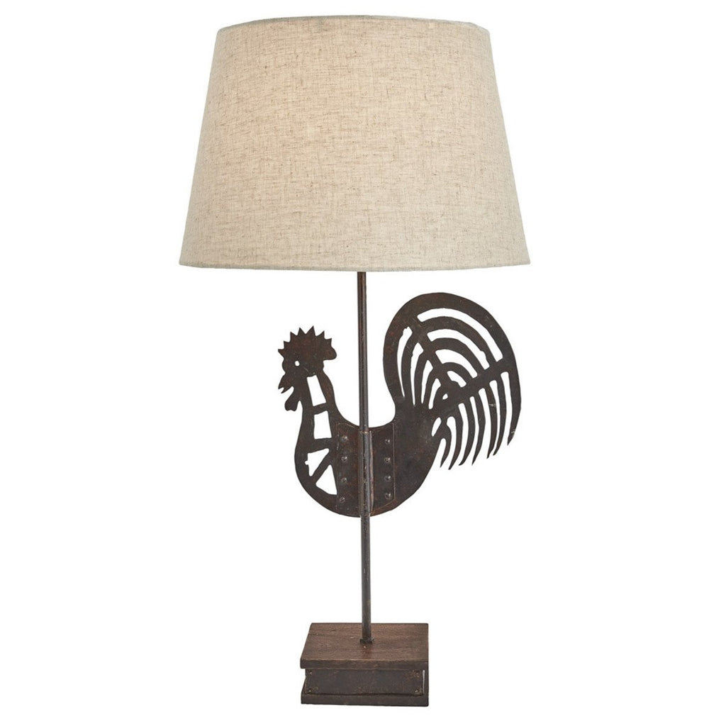 Folk Rooster Lamp with Shade - Olde Church Emporium