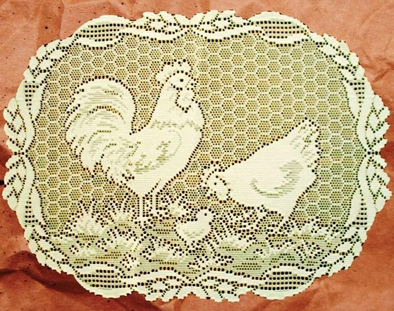 Heritage Lace Rooster Placemats and Doilies White and Ecru Made in USA