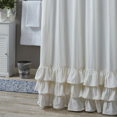 Park Design Ruffled Shower Curtain 72 x 72 Inches White Formal  Bathroom