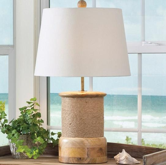 Rope Wrap Wood Lamp with Shade #25-336 [Home Decor]- Olde Church Emporium