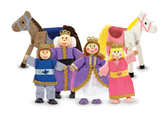 Melissa & Doug Royal Family Wooden Poseable Doll Set for Castle and Dollhouse (6 pcs) - 4 Dolls, 2 Horses (3-4 inches each) - Olde Church Emporium