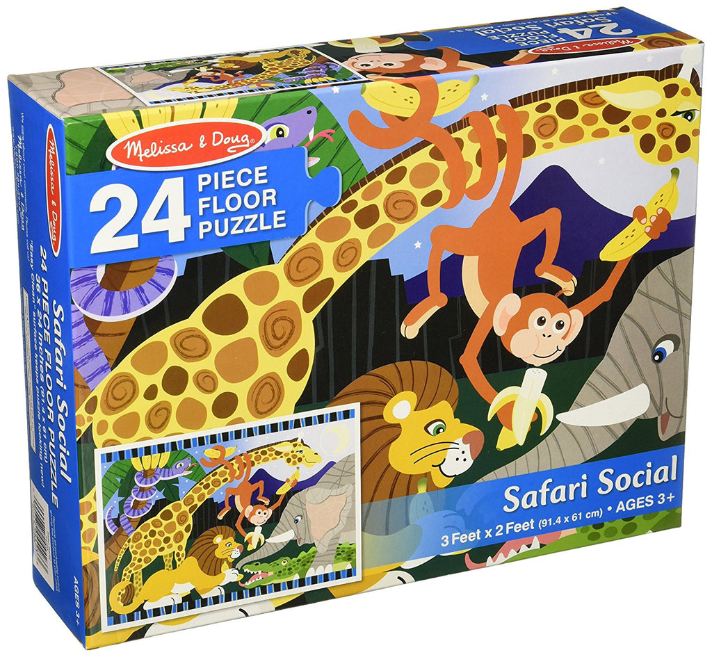 Melissa & Doug Safari Social Jumbo Jigsaw Floor Puzzle (24 pcs, 2 x 3 feet) - Olde Church Emporium