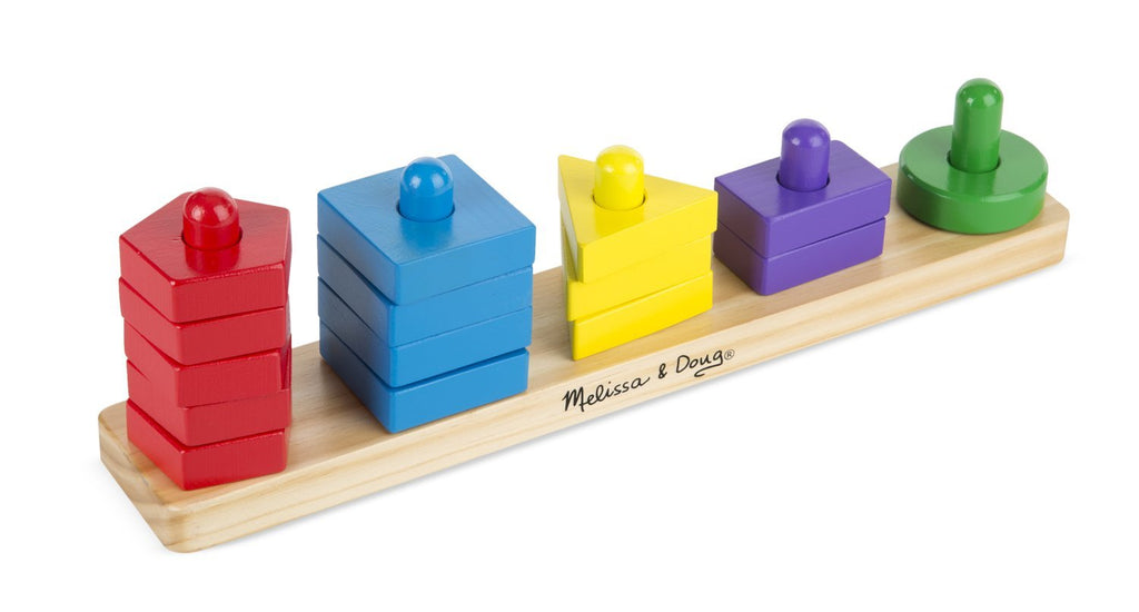 Melissa & Doug - Stack and Sort Board - Wooden Educational Toy With 15 Solid Wood Pieces [Home Decor]- Olde Church Emporium