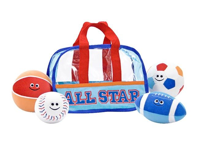 Melissa & Doug Sports Bag Fill and Spill, 5 Pieces First Play for 6 Months Soft Rattles - Olde Church Emporium