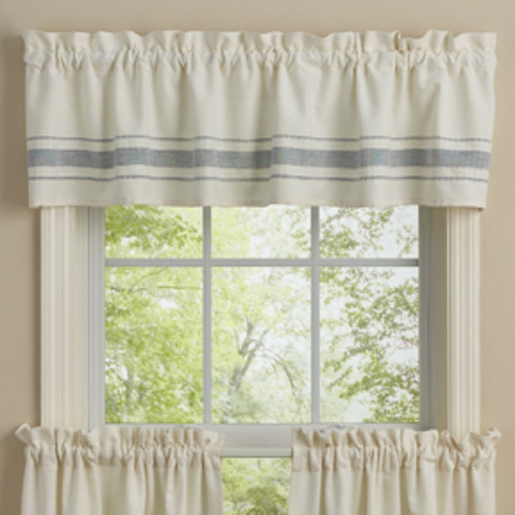 Park Designs - Summer Breeze Unlined Valance Country Primitive Farmhouse creme/blue 60 x 14 inches - Olde Church Emporium