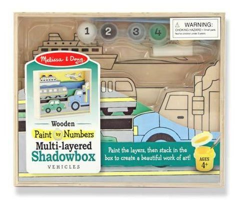 Melissa and Doug Vehicles Wooden Shadowbox ~Paint by Numbers Ages 4 and UP