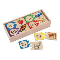 Melissa and Doug Self-Correcting Wooden Alphabet Letter Puzzles Ages 4 and UP - Olde Church Emporium