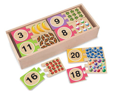 Melissa & Doug  - Self Correcting Wooden Number Puzzles With Storage Box (40 pieces) Ages 4+ [Home Decor]- Olde Church Emporium
