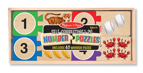 Melissa & Doug  - Self Correcting Wooden Number Puzzles With Storage Box (40 pieces) Ages 4+