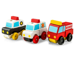 Melissa & Doug Wooden Stacking Emergency Vehicles  3 Take Apart Vehicles