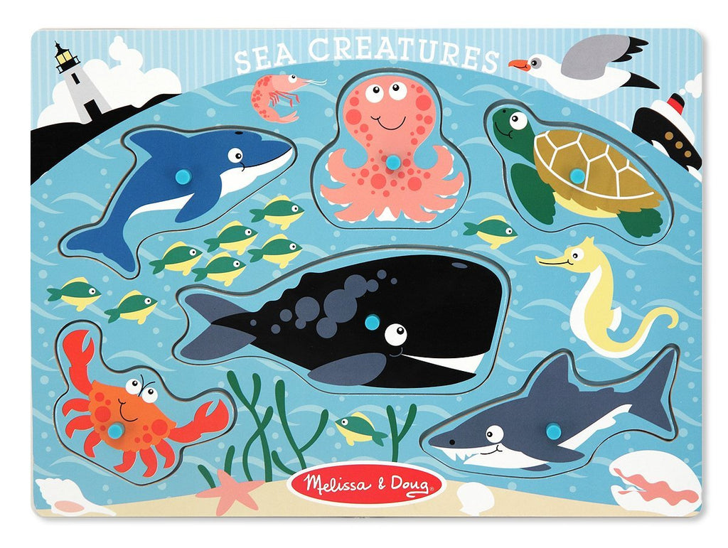 Melissa & Doug Sea Creatures  6 Piece Wooden Peg Puzzle - Olde Church Emporium