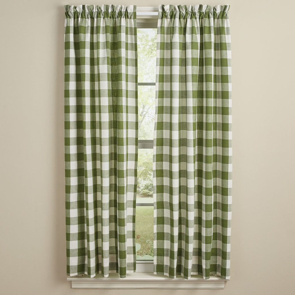 Park Designs - Wicklow Check Panels Pair  Sage and Cream - 72 x 63 Inches Unlined Farmhouse Country
