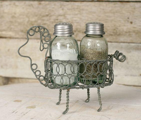Sheep Salt and Pepper Caddy - Glass shaker bottles embossed
