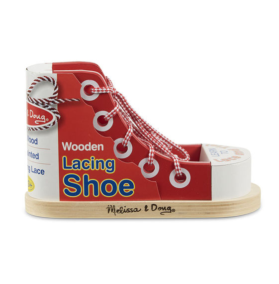 Melissa and Doug - Wooden Lacing Shoe Practice Learning Toy [Home Decor]- Olde Church Emporium