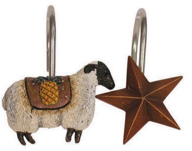 Primitive Welcome Shower Curtain Hooks 12 Resin Metal Sheep Stars