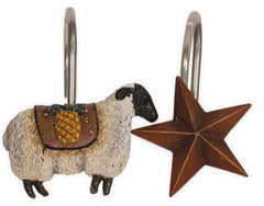Primitive Welcome Shower Curtain Hooks, 12, Resin & Metal, Sheep & Stars, Country Decor