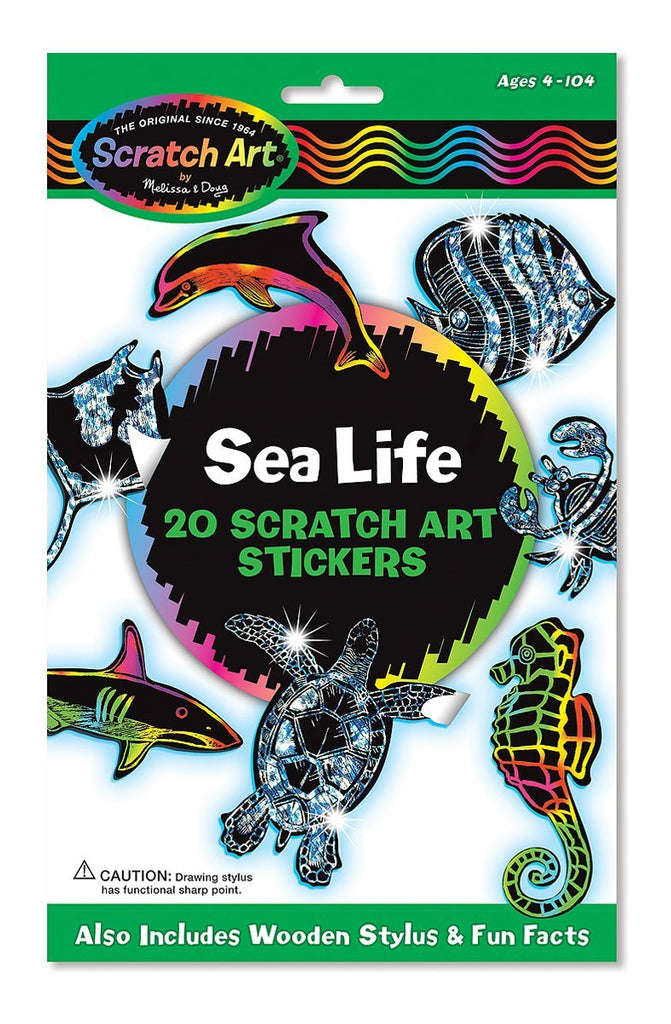 Melissa & Doug Scratch Art Sticker Set: Sea Life (20 Stickers) Ages 4 to 104 - Olde Church Emporium