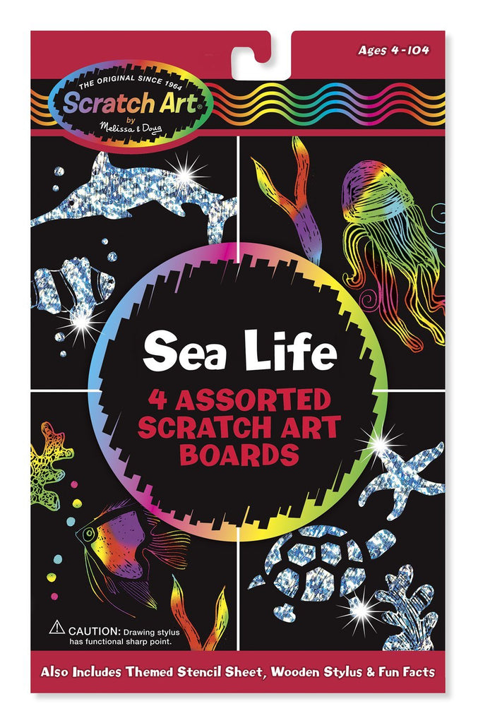 Melissa & Doug - Scratch Art Activity Kit  Sea Life Fun Kit Ages 5 to 95 [Home Decor]- Olde Church Emporium