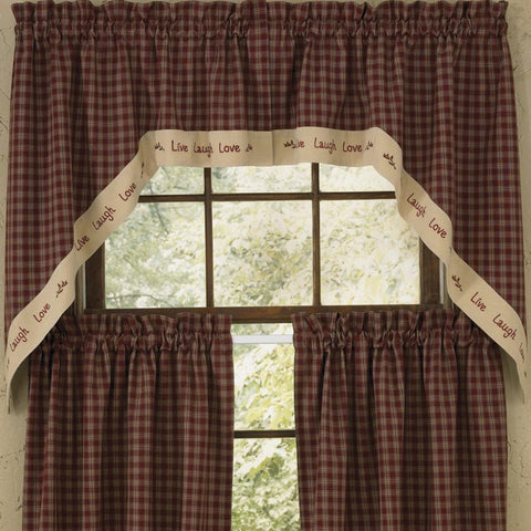 Park Design -Sturbridge Live Lined Swag Pair -  Wine -  72 x 36 Inches Farmhouse Country