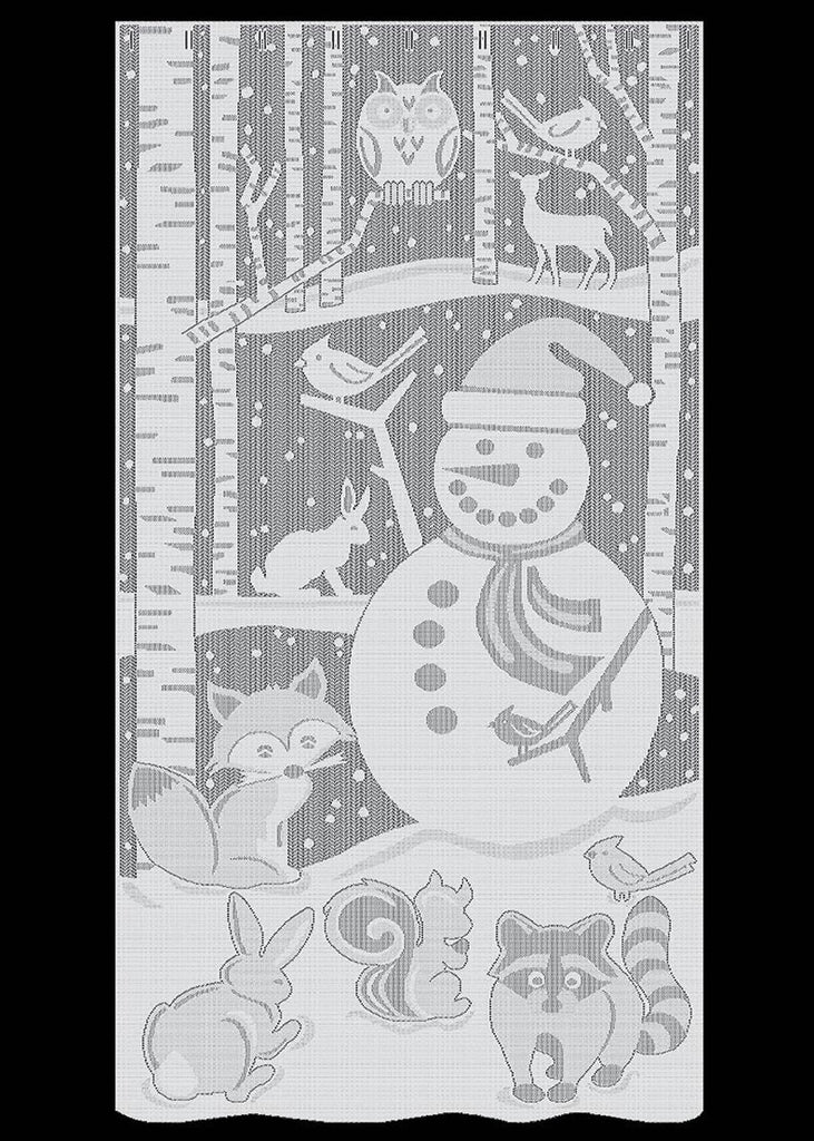 Heritage Lace Snowman Scenic Panel Curtain White 38 X 76 Inches