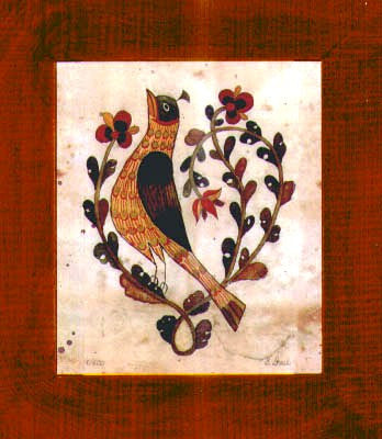 Fractur - Small Bird, American Folk Art, Collectible, Affordable Art