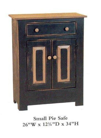 Amish Made Small Pie Safe - Two Tone Primitive Black - Made in USA