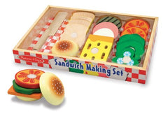 Melissa & Doug - Mix and Match Wooden Sandwich-Making Pretend Play Set [Home Decor]- Olde Church Emporium