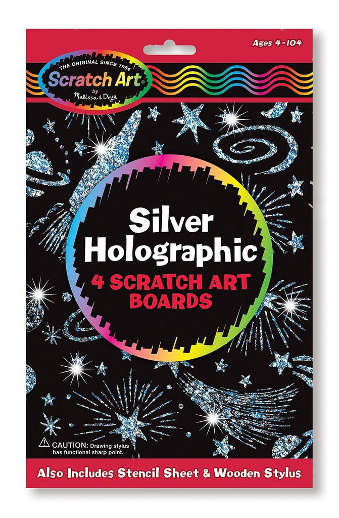 Melissa & Doug Scratch Art Silver Holographic Boards - 4 Boards, Stencil Sheet Ages 5 to 95 - Olde Church Emporium