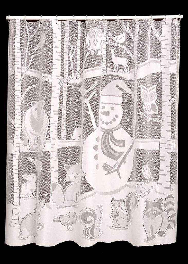 Heritage Lace Snowman Shower Curtain White 72 X 72 Inches