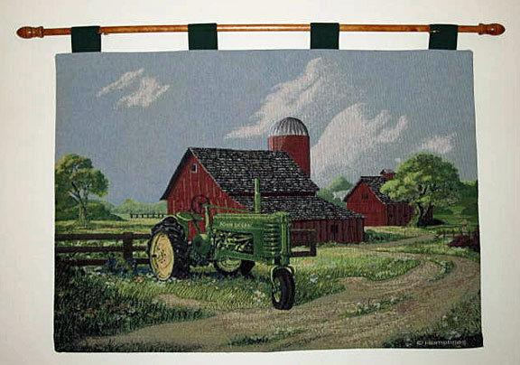 "Spirit of America John Deere American Farm Tapestry Wall Hanging Made in USA 68"" x 51"""