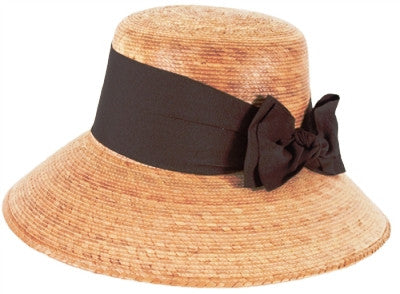 "Tula Womens Hat "" Somerset with Brown Bow"" with Stretch Sweatband - One Size 7 or 22 inches - Olde Church Emporium"
