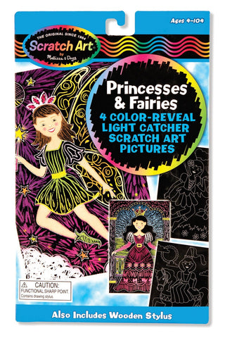 Melissa & Doug  - Scratch Art Color Reveal Light Catcher Pictures Princesses and Fairies Ages 4 to 104