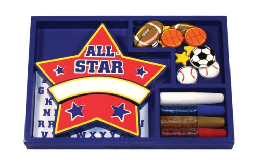 Melissa Doug-  Decorate Your Own Wooden Sports Name Plaque [Home Decor]- Olde Church Emporium