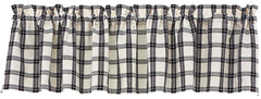 Park Salt & Pepper Check Unlined Valance 72 x 14 Inches Country Farmhouse - Olde Church Emporium