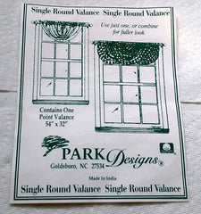 "Bella Leaf and persimmon single round Lined Valances 54"" x 32""- colors with dotted scroll pattern - Olde Church Emporium"