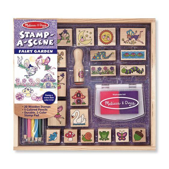 Melissa and Doug Wooden Stamp-a-Scene Fairy Garden Stamp Set Ages 4+