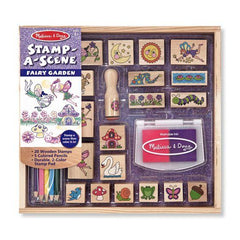Melissa and Doug Wooden Stamp-a-Scene Fairy Garden Stamp Set Ages 4+ - Olde Church Emporium