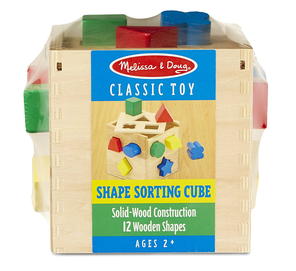 Melissa & Doug - Shape Sorting Cube - Classic Wooden Toy With 12 Shapes [Home Decor]- Olde Church Emporium