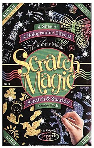 Melissa and Doug - Scratch Art Magic Scratch and Sparkle Combo Pack 4 Glitter Boards Ages 5 to 95 [Home Decor]- Olde Church Emporium