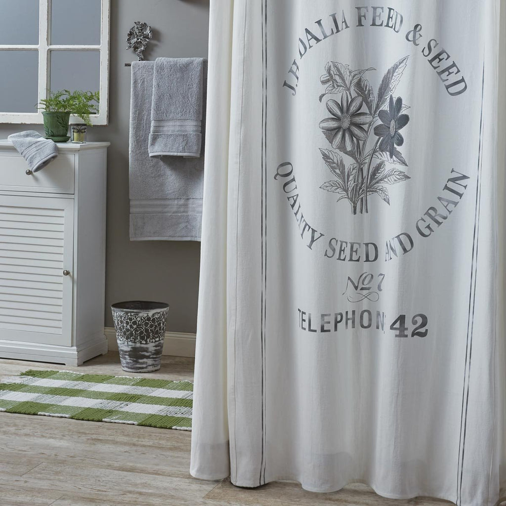 Park Design Seed Sack Shower Curtain 72 x 72 Inches Cotton Farmhouse Rustic Grain Feed Sack Farm Cottage Free Shipping - Olde Church Emporium