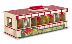 Melissa & Doug - Take Along Show-Horse Stable Play Set With Wooden Stable Box and 8 Toy Horses [Home Decor]- Olde Church Emporium