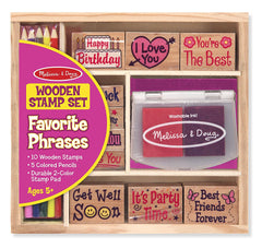Melissa & Doug Favorite Phrases Wooden Stamp Set - 10 Stamps, 5 Colored Pencils, 2-Color Stamp Pad - Olde Church Emporium