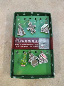 6 Christmas Holiday Stemware Markers Gingerbread Christmas Tree Design