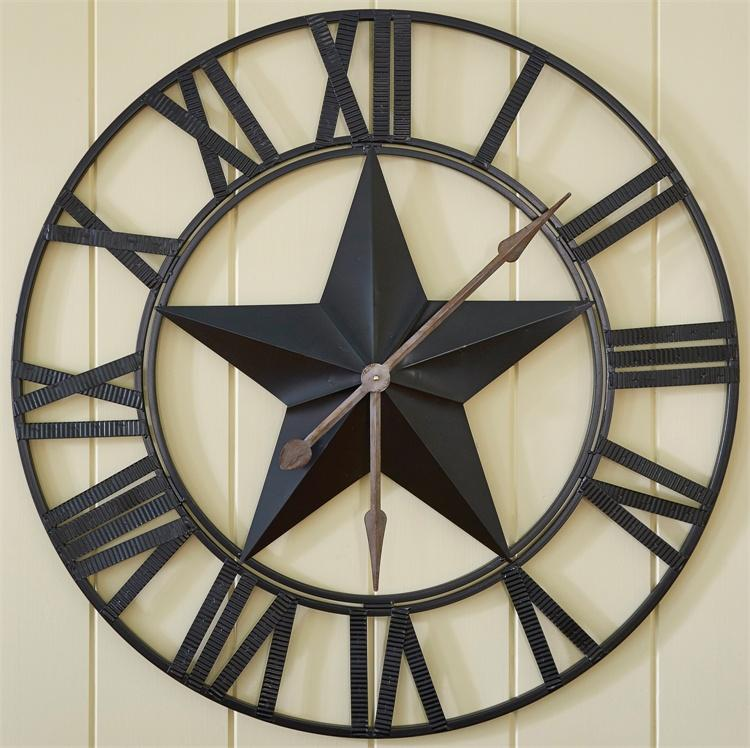 Star Wall Clock - 21-048 Oversize 35 Inches Diameter Metal [Home Decor]- Olde Church Emporium