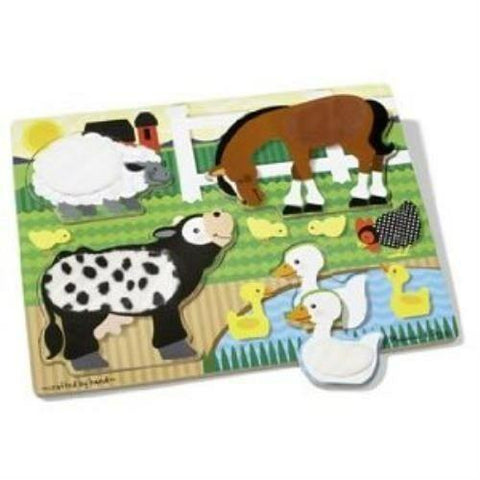 Melissa and Doug Touch and Feel Farm Animals Wooden Puzzles  2 Sizes Ages 18months+